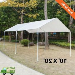 10' x 20' Domain Carport Garage White Canopy Heavy Duty Fram