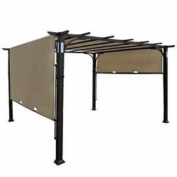 10'x10' Pergola Patio Gazebo Kits Canopy Brown Teslin Ventil