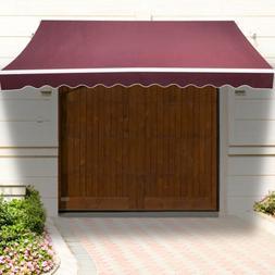 12'×10' Patio Manual Retractable Deck Awning Sun Shade Shel