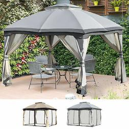 12' x 10' 2-Tier Outside Pergola Canopy w/ Steel Frame and A