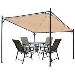 12 x 12 ft  Beige Square Steel Canopy Outdoor Garden Gazebo