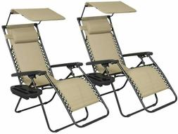 2 PCS Zero Gravity Chair Lounge Patio Chairs with Canopy Cup