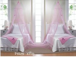 2 pink BUTTERFLY tulle CANOPY Mosquito bug Net Netting Bedro
