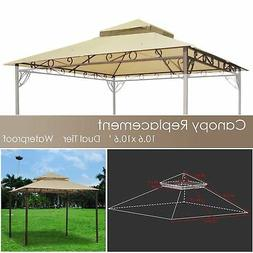 10x10ft 2 Tier Corner Pocket Waterproof Gazebo Top Replaceme