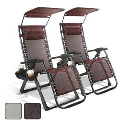 2PCS Square Frame Reclining Zero Gravity Chairs Folding Port