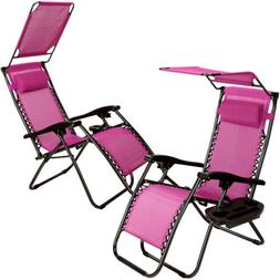 2x Zero Gravity Chairs Lounge Patio With Canopy Tray Outing