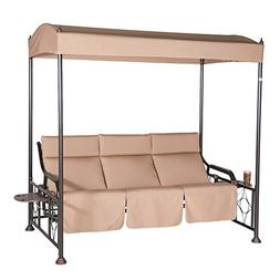 Abba Patio 3 Person Outdoor Patio Gazebo Swing Glider with S