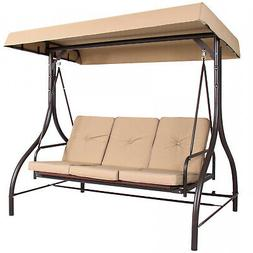 3-Seat Converting Outdoor Deck Patio Seating Canopy Swing Ha