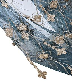 Aside Bside 4 Petals Floral Embroidered Sheer Curtains with