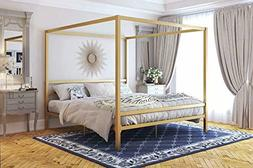 DHP 4073349 Modern Canopy Gold Metal, King Loft Bed