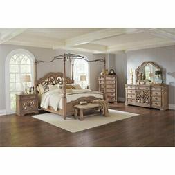 Bowery Hill 5 Piece King Mirrored Canopy Bedroom Set in Crea