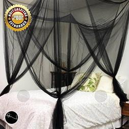 LIFE Four Corner Post Bed Black Canopy Mosquito Net Full Que