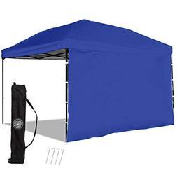 Punchau Pop Up Canopy Tent with Sidewall 10 x 10 Feet, Blue
