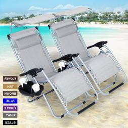 Adjustable 2 PACK Folding Zero Gravity Chair Recliner Lounge