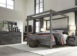 AMBROSE Modern Smokey Gray 5pcs Bedroom Set Furniture w/ Kin