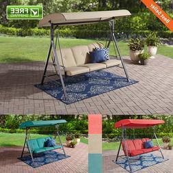 Backyard 3-Seat Cushion Canopy Porch Swing Relax Family Gard