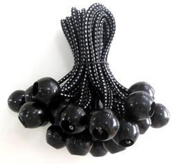 Kotap BB-9B Ball Bungee, 9-Inch, Black, 25-Piece