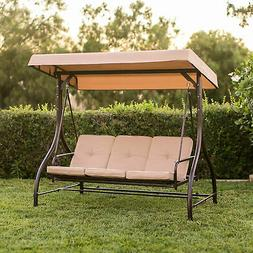 BCP 3-Seat Outdoor Canopy Swing Glider Furniture w/ Converti