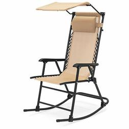 BCP Folding Zero Gravity Mesh Rocking Chair w/ Sunshade Cano