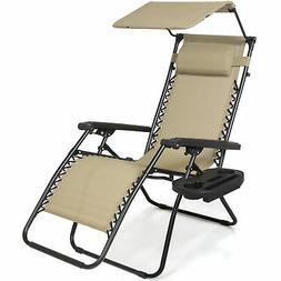 BCP Folding Zero Gravity Recliner Lounge Chair w/ Canopy, Cu