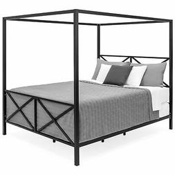 BCP Modern Metal Canopy Queen Bed Frame - Black