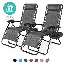 BCP Set of 2 Adjustable Zero Gravity Patio Chair Recliners w