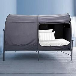 Bed Canopy Full Size Privacy Tent Gray Curtains Portable Cam