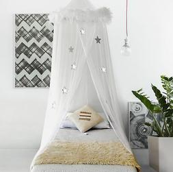 Boho & Beach Bed Canopy Mosquito Net Curtains with Feathers