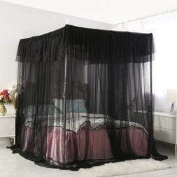Bedding 4 Corners Post Insect Bed Canopy Black Netting Curta