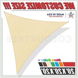 ColourTree 20' x 20' x 20' Beige Sun Shade Sail Triangle Can
