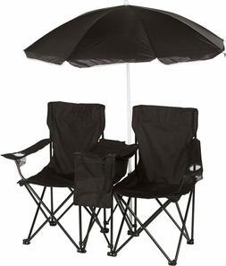 Trademark Innovations Black Double Folding Camp & Beach Chai