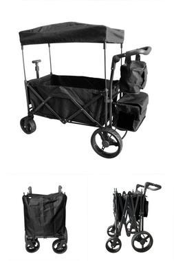 Black Outdoor Push Foldable Wagon Canopy Utility Travel Cart