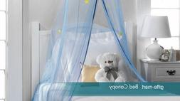 BLUE celestial STARS tulle CANOPY Mosquito bug Net baby Bedr