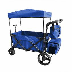 BLUE OUTDOOR PUSH FOLDABLE WAGON CANOPY UTILITY TRAVEL CART