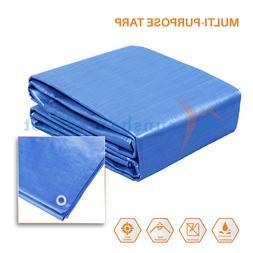 Blue Tarp Poly Tarpaulin Canopy Tent Shelter Car Boat Reinfo
