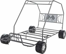 Boys Gray Twin Size Metal Canopy Bed Frame Racing Go Kart Du