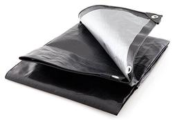 King Canopy Super Heavy Duty Tarp in Black and Silver, 50' L
