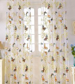butterfly tree print countryside sheer