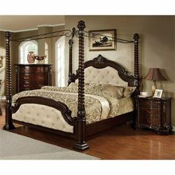 Furniture of America Cathey 2 Piece King Canopy Bedroom Set
