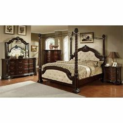 Furniture of America Cathey 4 Piece King Canopy Bedroom Set