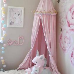 Cotton Hanging Dome Mosquito Net Bed Canopy with Pompom Orna