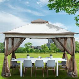 10x10FT Double-tier Patio Gazebo Canopy Shelter Outdoor Sun
