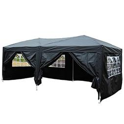 VINGLI 10' x 20' Ez Pop Up Canopy Tent w/6 Removable Sidewal