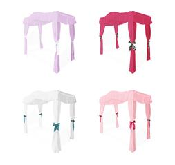 FC38 GIRLS TWIN SIZE PRINCESS BED DRAPE CANOPY CURTAINS FABR