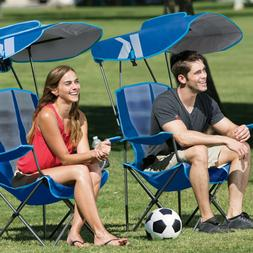 Folding Chair With Canopy Blue Cup Holder Up to 250 lb Campi