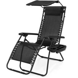 Folding Zero Gravity Lounge Chair-W/ Canopy, Magazine,Cup Ho