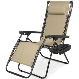 Folding Zero Gravity Recliner Lounge Chair w/ Canopy Shade &