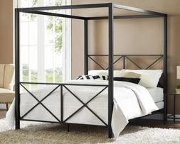 Full Queen Black Metal Canopy Bed Frame Criss Cross Headboar