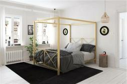 Full Queen Gold Metal Canopy Bed Frame Criss Cross Headboard