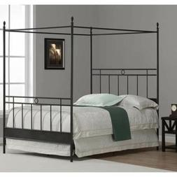 Full Queen King Size Black Metal Canopy Bed Frame Four Poste